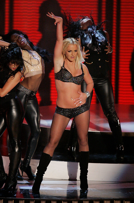 . Britney Spears performs at the MTV Video Music Awards at the Palms Hotel and Casino on Sunday, Sept. 9, 2007, in Las Vegas. (AP Photo/Mark J. Terrill)