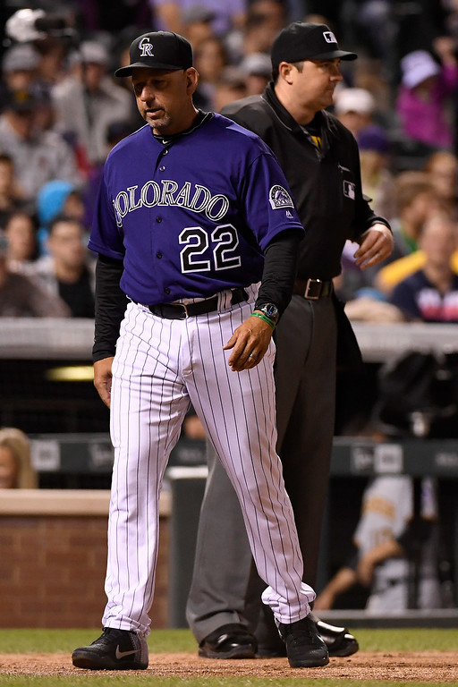 . DENVER, CO - APRIL 25: Walt Weiss (22) of the Colorado Rockies argues a strikeout call on Nick Hundley (4) with umpire Lance Barrett (94) during the fourth inning at Coors Field. Weiss would be ejected after the argument. The Colorado Rockies hosted the Pittsburgh Pirates on Monday, April 25, 2016. (Photo by AAron Ontiveroz/The Denver Post)