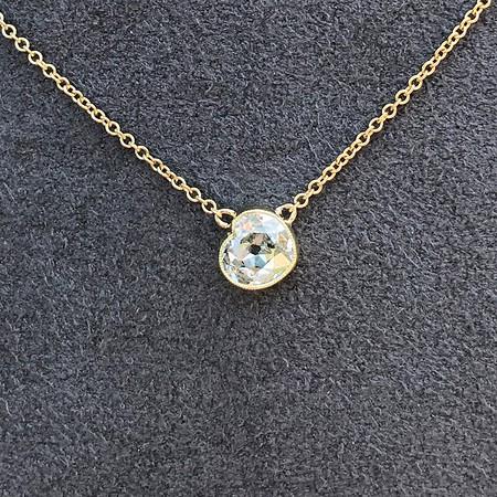 1.02ct Antique Heart Diamond Bezel Pendant