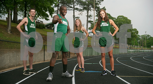 Bishop Gorman will be led at Thursday's TAPPS 2-4A track and field meet by (from left) Grady Frazier, Caleb Williams, Hannah Frossard and Maddie Raney. (Sarah A. Miller | Tyler Morning Telegraph)