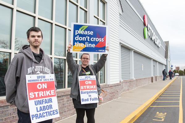 04/11/19 Wesley Bunnell | Staff Siblings Trevor Johnson and Heather Johnson hold picket signs outside of the Stop & Shop in New Britain on Thursday afternoon after all area stores went on strike starting at 1pm.