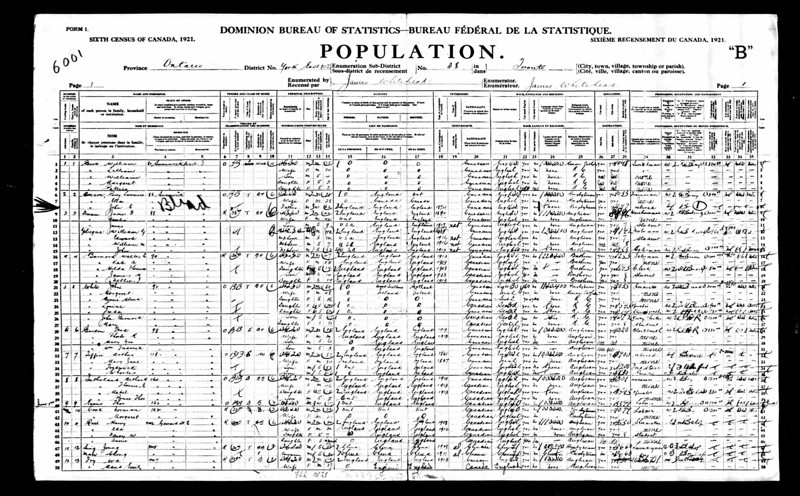 1921 census Flroance Sutherland York Toronto CAN.jpg