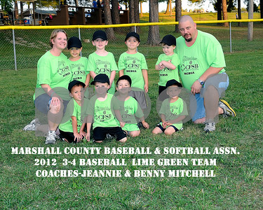 3-4 Baseball Lime-Green Team Coaches Jeannie & Benny Mitchell, June 14, 2012.