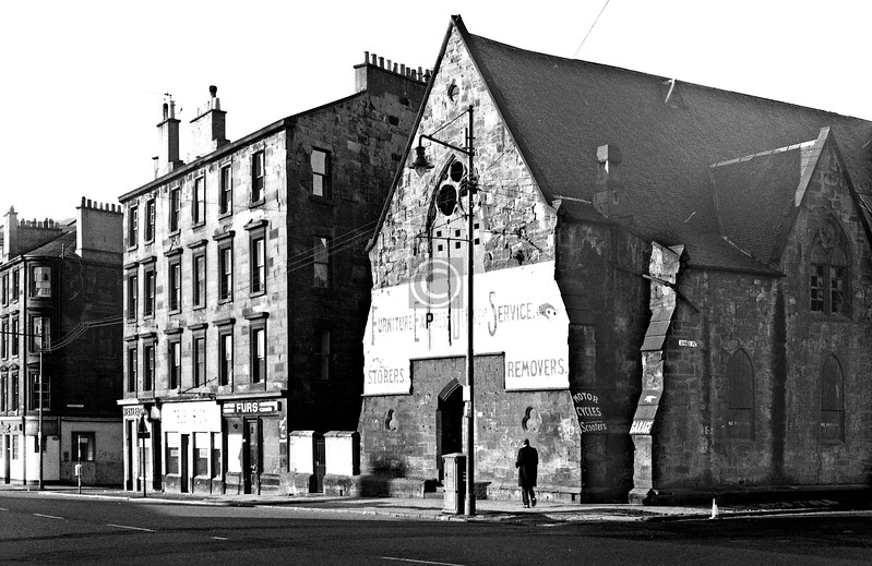 London Rd,  south side east of Binnie Place, opposite Green St.  The McMillan-Calton Church.  May 1974