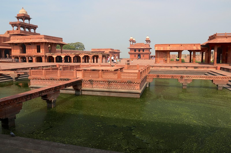 The fortified ancient city of Fatehpur Sikri - 25 miles west of Agra, was the short-lived capital of the Mughal empire between 1572 and 1585, during the reign of Emperor Akbar