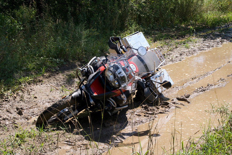 Photo by Scott Shelerud ( http://www.knifeisland.com) of his 2008 R1200GS Adventure stuck in the mud somewhere in the USofA...