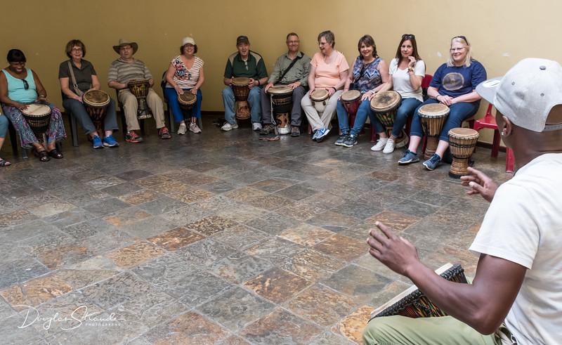 Drum lesson at Community Center