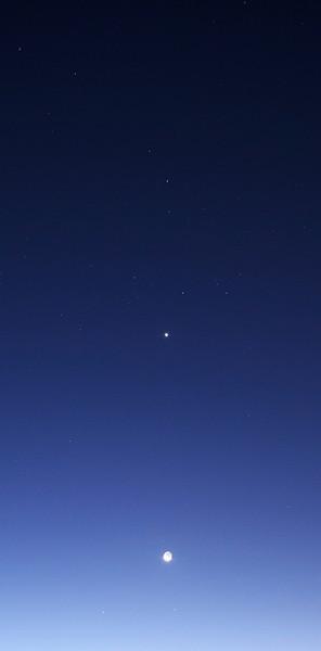 Lunar conjunction with Venus, Saturn, Mercury and Zubenelgenubi below Scorpius - 7/10/2013 (Processed cropped image)
