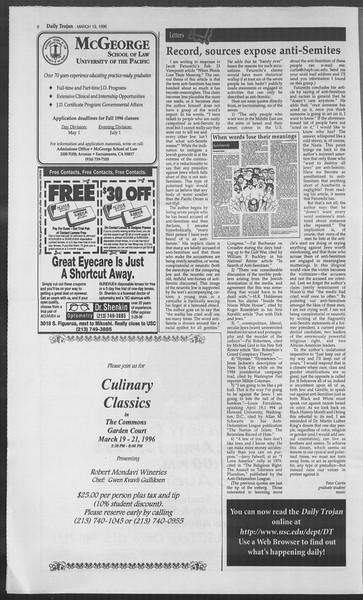 Daily Trojan, Vol. 127, No. 39, March 19, 1996