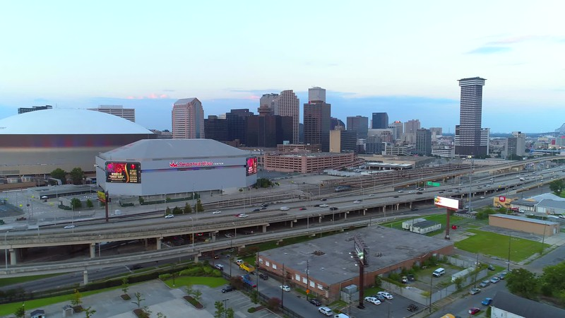 Aerial Downtown New Orleans stadiums