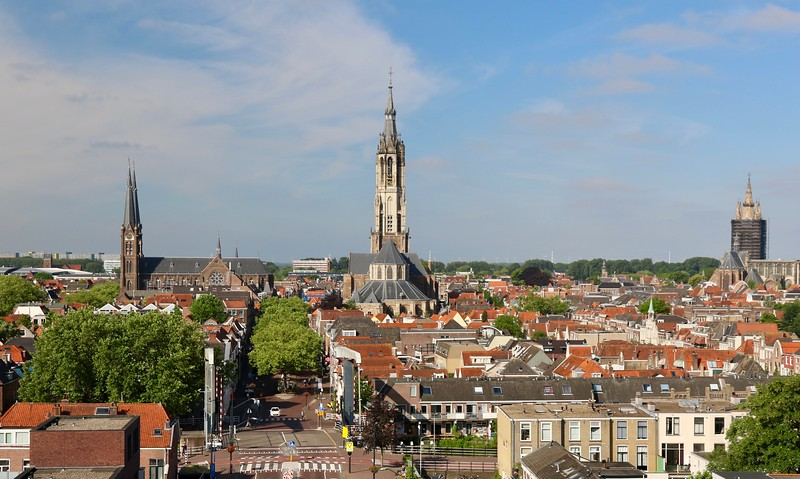 Overlooking the small town of Delft, Netherlands