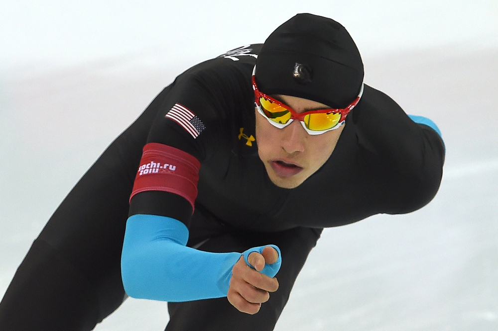 . US Emery Lehman competes during the Men\'s Speed Skating 10000 m at the Adler Arena during the Sochi Winter Olympics on February 18, 2014. (DAMIEN MEYER/AFP/Getty Images)