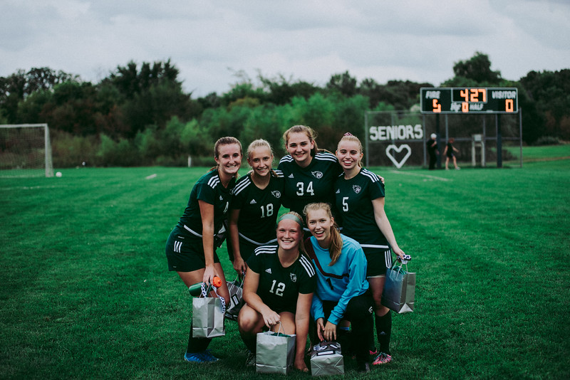 Holy Family Girls Varsity Soccer vs. Glencoe-Silver Lake, 9/24/19: Seniors from left to right: Ella Haley '20 (4), Maggie Rothstein '20 (18), Shannon Furlong '20 (34), Brenna Jones '20 (5), Caitlin Rock '20 (12), and Sydney Paulsen '20 (1)