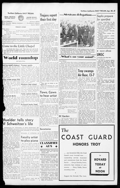 Daily Trojan, Vol. 36, No. 109, April 26, 1945