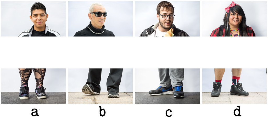 Shoe Quiz #3<br /> <br /> Can you guess the order of the letters for each individual to recover their feet?<br /> <br /> More and more difficult by the day, are they not? Take your pick.