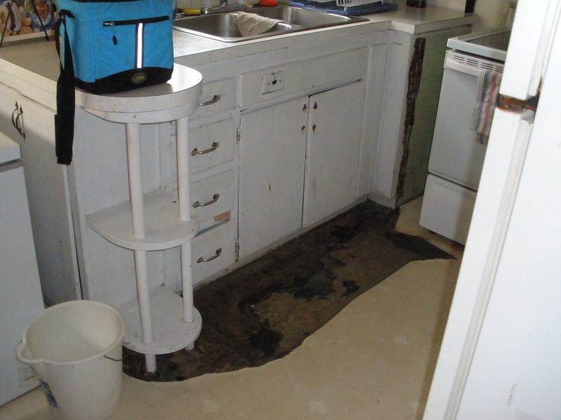 2010 06-22  Rotten kitchen floor that needs  repair.  gb