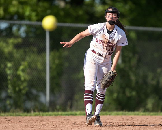 05/21/18 Wesley Bunnell   Staff Bristol Eastern softball defeated Bristol Central on Monday afternoon at Bristol Central High School. Gwen Torreso (15) throws to first.
