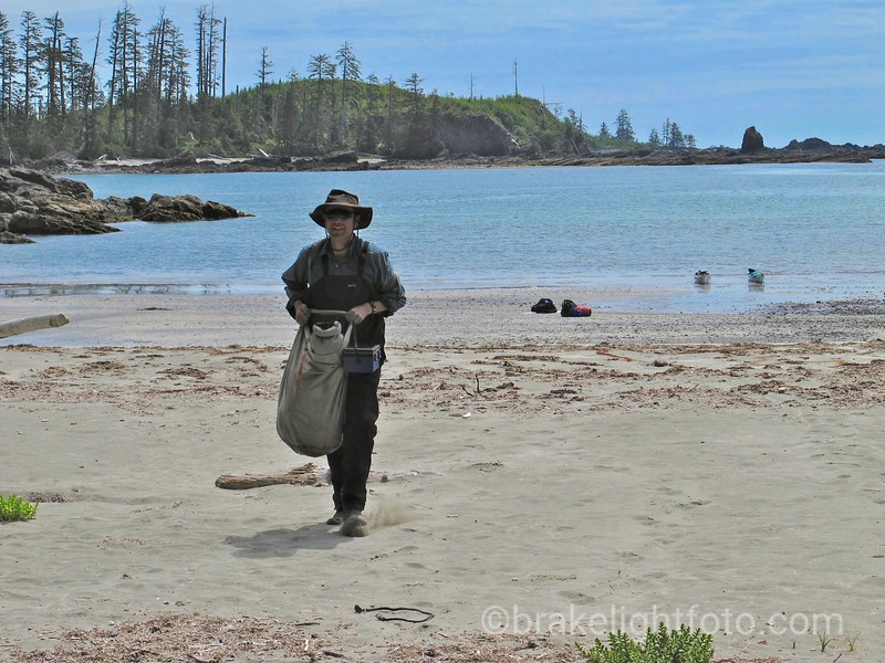 Hauling gear up the Beach at Rugged Point