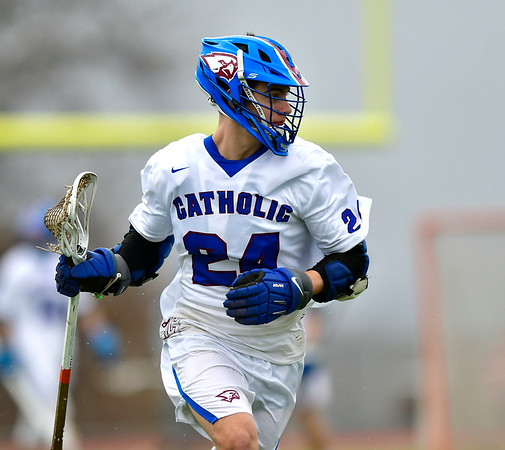 4/20/2019 Mike Orazzi | Staff St. Paul's Tucker Raymond (24) during Saturday's boys lacrosse with Bacon Academy at Bristol Central iHigh School n Bristol