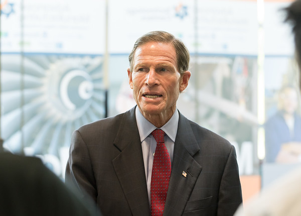 08/10/18 Wesley Bunnell | Staff Senator Richard Blumenthal speaks to advanced manufacturing students from programs in the CSCU system during his visit to Tunxis Community College on Friday. The Senator spoke about the importance of the new advanced manufacturing program offered by the school and the demand for advanced manufacturing jobs within Connecticut.