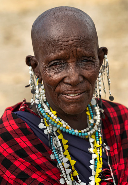 Portrait of a Masai woman.  Tanzania, 2019