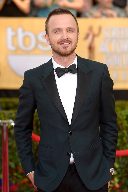 . Aaron Paul arrives at the 20th Annual Screen Actors Guild Awards  at the Shrine Auditorium in Los Angeles, California on Saturday January 18, 2014 (Photo by Michael Owen Baker / Los Angeles Daily News)