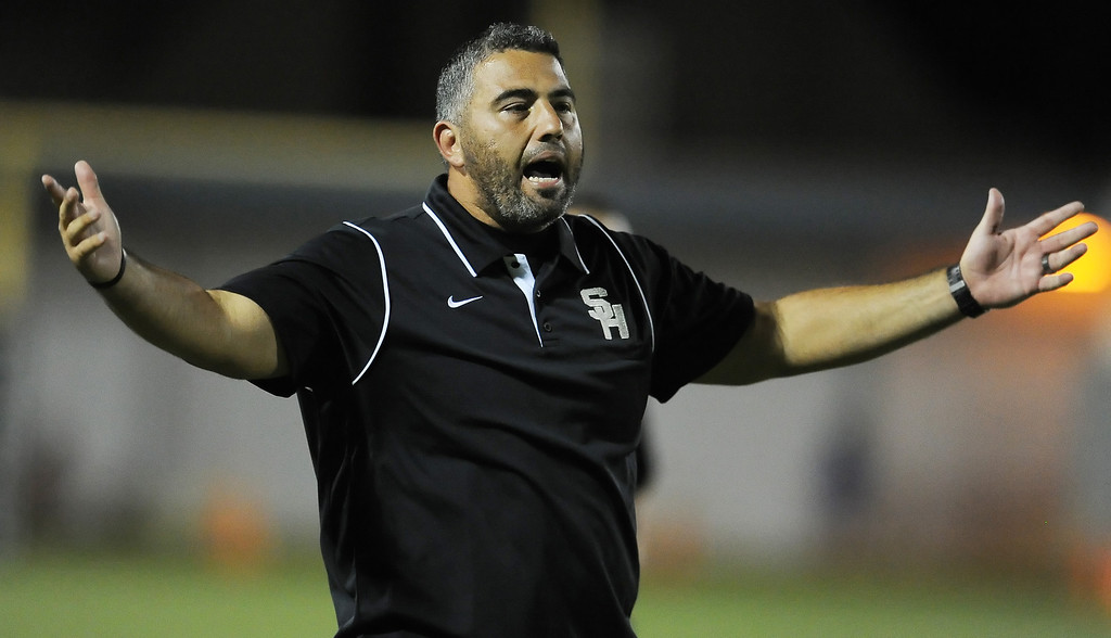 . South Hills head coach Albert Rodriguez reacts after Alex Garcia (not pictured) touchdown catch was ruled no touchdown in the first half of a prep football game against Bonita at Covina District Field in Covina, Calif. on Friday, Sept. 6, 2013.   (Photo by Keith Birmingham/Pasadena Star-News)
