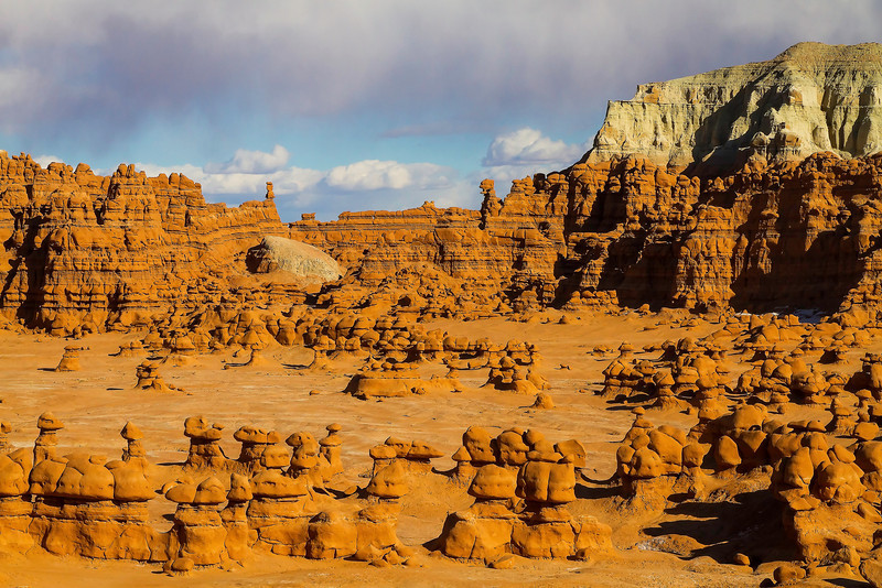 Goblins spread out across the amphitheater floor at Goblin Valley State Park in Utah.
