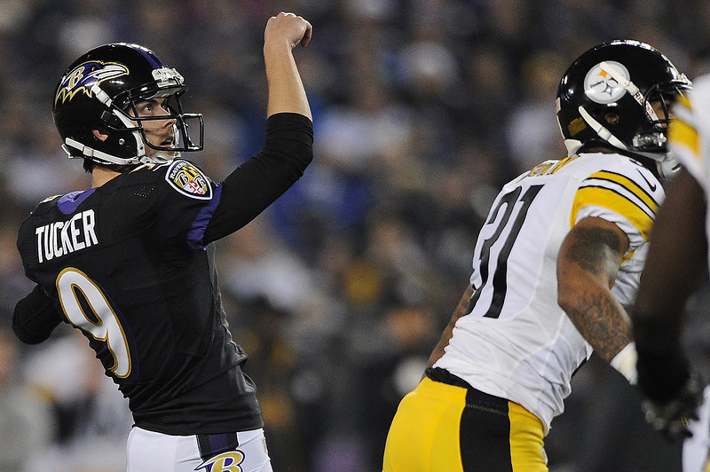 . Place kicker Justin Tucker #9 of the Baltimore Ravens kicks a successful field goal against the Pittsburgh Steelers in the first quarter at M&T Bank Stadium on December 2, 2012 in Baltimore, Maryland. (Photo by Patrick Smith/Getty Images)