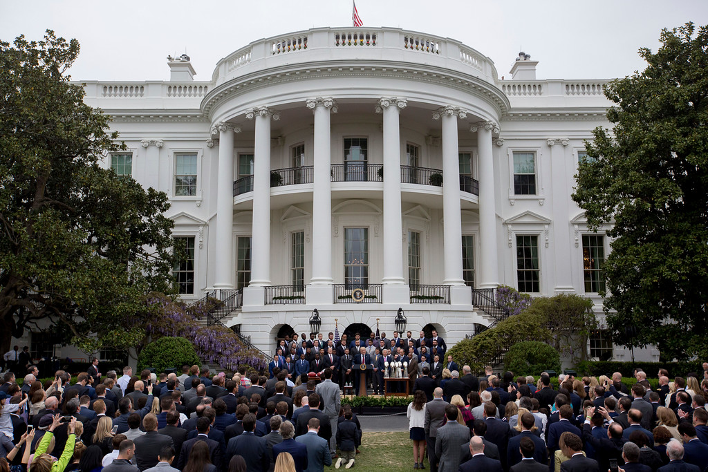 . President Donald Trump speaks on the South Lawn of the White House in Washington, Wednesday, April 19, 2017, during a ceremony where he honored the Super Bowl Champion New England Patriots for their Super Bowl LI victory. (AP Photo/Andrew Harnik)