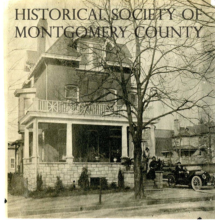 . This photo from the Historical Society of Montgomery County shows the Ballard House at Haws Avenue and Main Street in Norristown in 1914. Helen and George Ballard can been seen on the front steps.