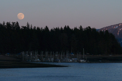 Harbor Scene with an Almost Super Moon (the night before) March 2011, Cynthia Meyer, Tenakee Springs, Alaska