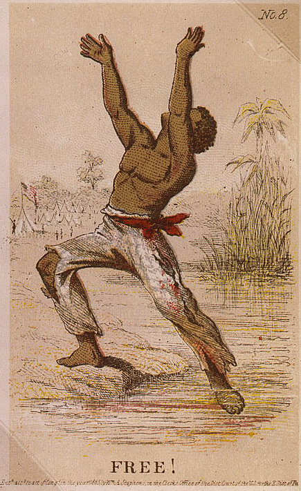 . Card showing African American slave reaching freedom. Stephens, H. L. (Henry Louis), 1824-1882, artist.  c1863.  Library of Congress