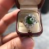 4.38ctw Art Deco Russian Demantoid & Diamond Cluster Ring 34