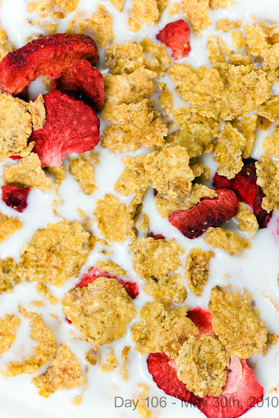 Today, I spent the morning talking to him, which was wonderful as always. Later, I spent the day just lying around in an attempt to get my voice back and not be sick, and all I have to show for it is a photo of some cereal.  My voice is slightly back now, but I'm still coughing.