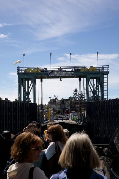 Walk-on passengers waiting to disembark Washington State Ferry at Friday Harbor.