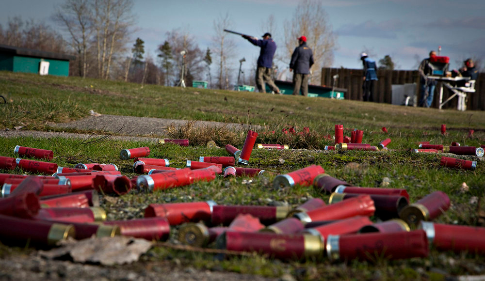 . The ground is littered with spent shotgun shells at the Vancouver Gun Club in Richmond, British Columbia February 10, 2013. Formed in 1924, the Vancouver Gun Club has a regular membership of about 400 and sells an estimated 1100 day passes each year. Canada has very strict laws controlling the use of handguns and violent crime is relatively rare. Picture taken February 10, 2013. REUTERS/Andy Clark