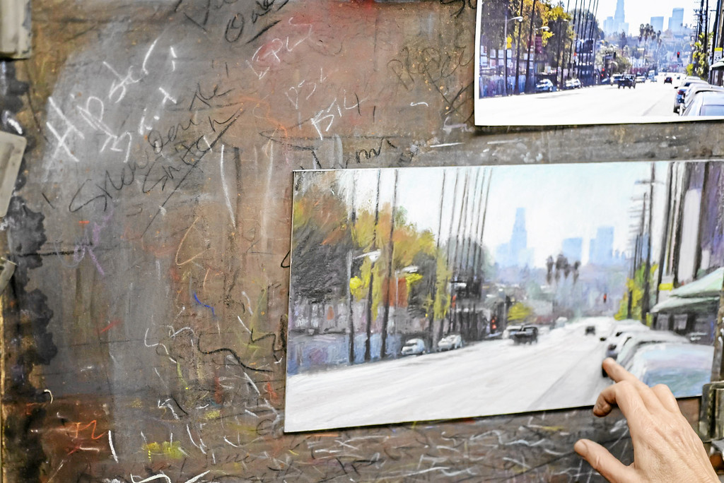 . Los Angeles pastel artist Nancy Popenoe gets her inspiration from the streets and night scenes around her Los Angeles neighborhood.  She often photographs a scene and later puts it in pastel.  Photo by David Crane/Los Angeles Daily News