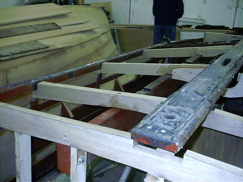 Starboard side frame ends removed ready for new wood.