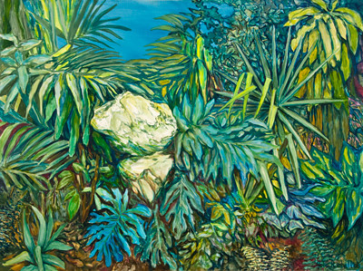 "©John Rachell Title: Garden, March 14, 2008 Image Size: 48"" w by 36"" d Dated: 2008 Medium and Support: Oils on canvas Signed: LR Signature"