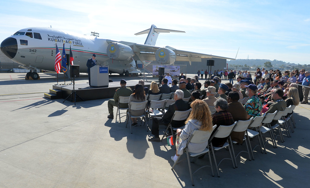. In a morning ceremony, Boeing officials delivered Kuwait\'s first C-17 Globemaster aircraft in Long Beach, CA on Thursday, February 13, 2014. This is the first of two C-17 airlifters that will be delivered to the Kuwait Air Force.  (Photo by Scott Varley, Daily Breeze)