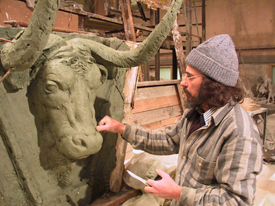 "In Progress: ""Taurus"" Fire place topper/center piece. For private collection Russia, Moscow 1995."