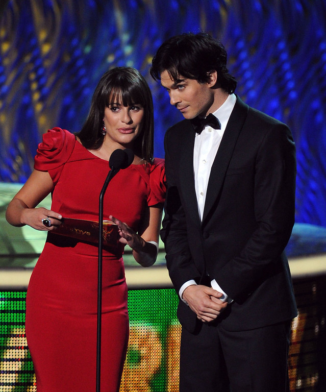 . Actors Lea Michele (L) and Ian Somerhalder speak onstage during the 63rd Annual Primetime Emmy Awards held at Nokia Theatre L.A. LIVE on September 18, 2011 in Los Angeles, California.  (Photo by Kevin Winter/Getty Images)