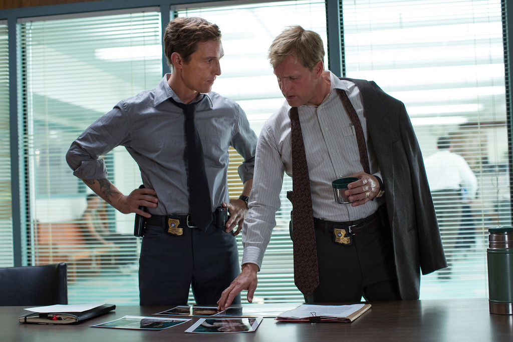 """. This image released by HBO shows Matthew McConaughey, left, and Woody Harrelson from the HBO series \""""True Detective.\""""  The show was nominated for a Golden Globe for best TV movie or mini-series on Thursday, Dec. 11, 2014. The 72nd annual Golden Globe awards will air on NBC on Sunday, Jan. 11. (AP Photo/HBO, Michele K. Short)"""