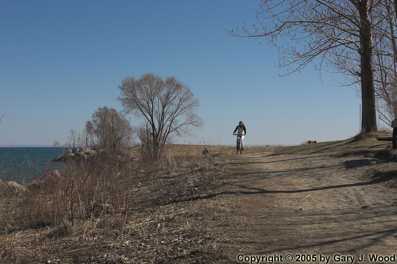 Biking through the park