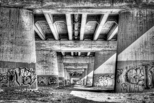 Under the Bridge - Black and White Rendition