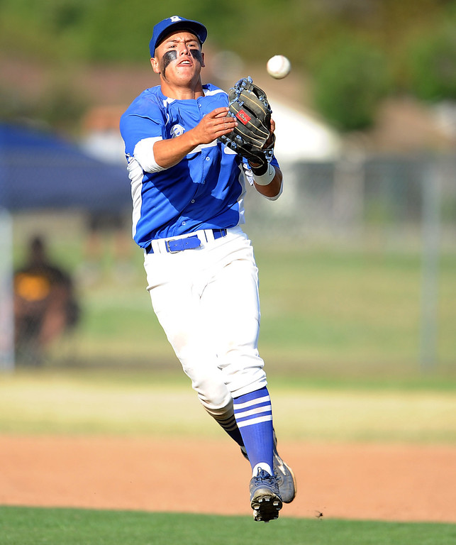 . Baldwin Park shortstop Jonatan Huerta throws out Northview\'s Nick Chico (not pictured) in the sixth inning of a prep baseball game at Northview High School on Tuesday, April 23, 2012 in Covina, Calif. Northview won 8-2.    (Keith Birmingham/Pasadena Star-News)