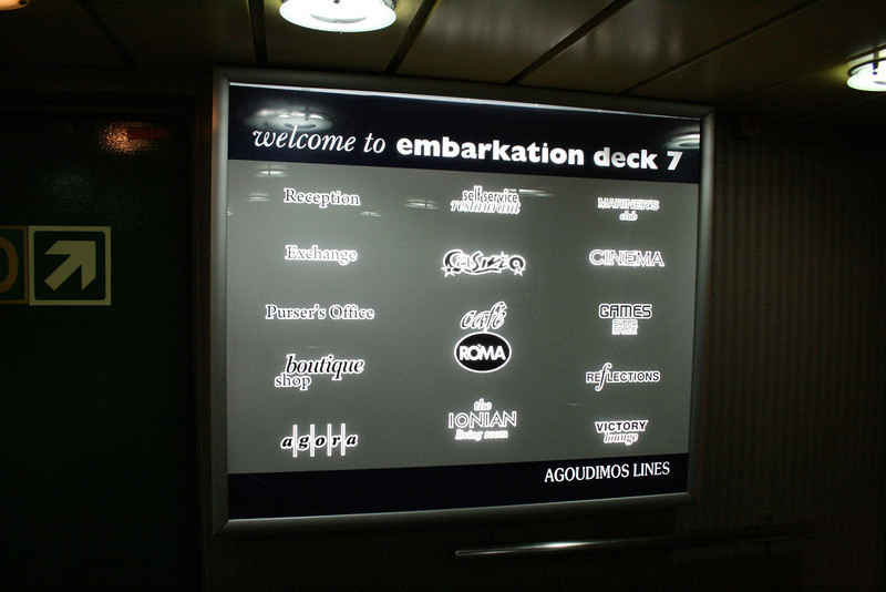 2010 - On board F/B IONIAN SKY : welcome desk, deck 7.