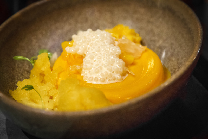 Mango pudding, passionfruit granita, pomelo and pearls