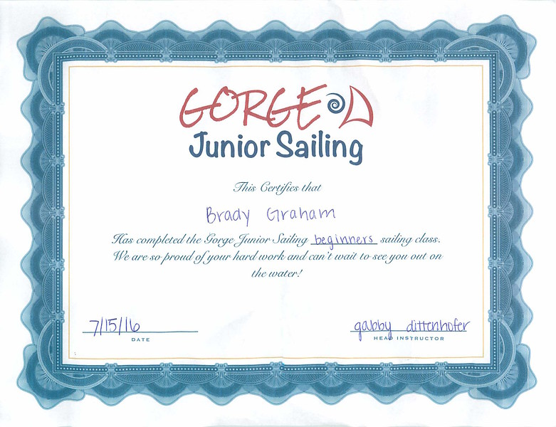 Brady gets his sailing certificate.